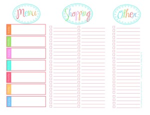 Free Downloadable Menu Planners