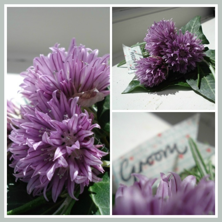 chive flower buttonhole
