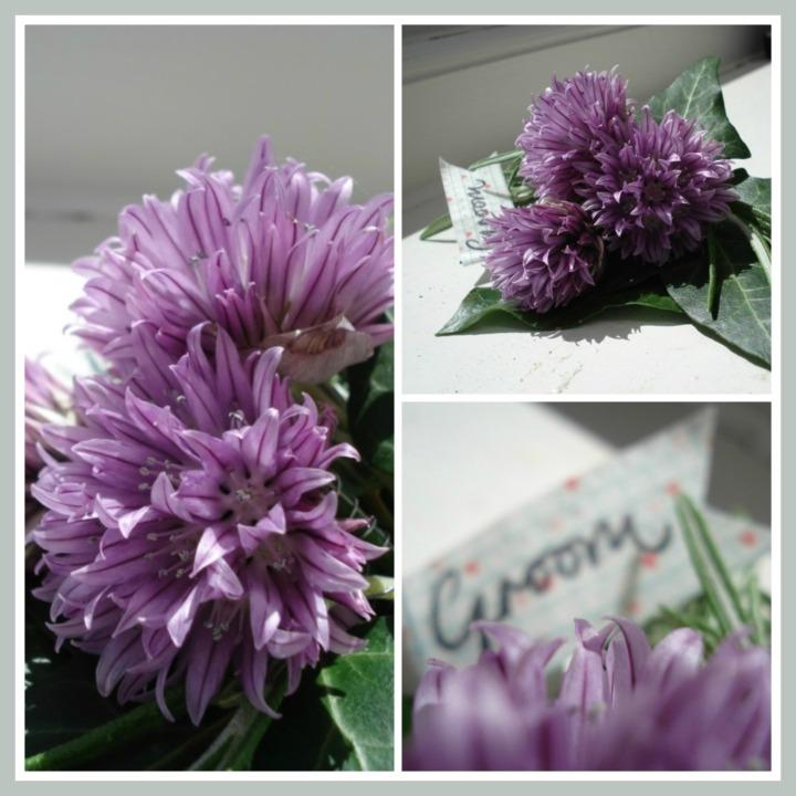 chive flower buttonhole