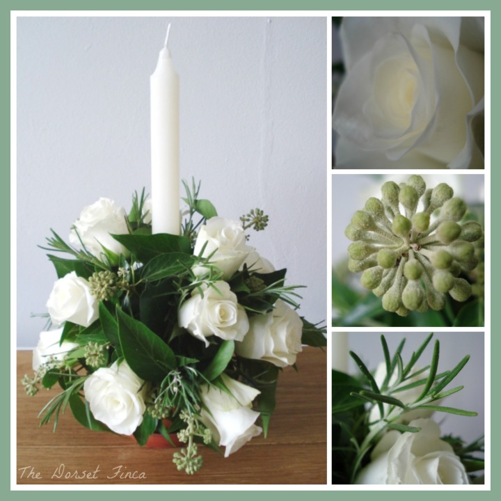 rose and rosemary table decoration