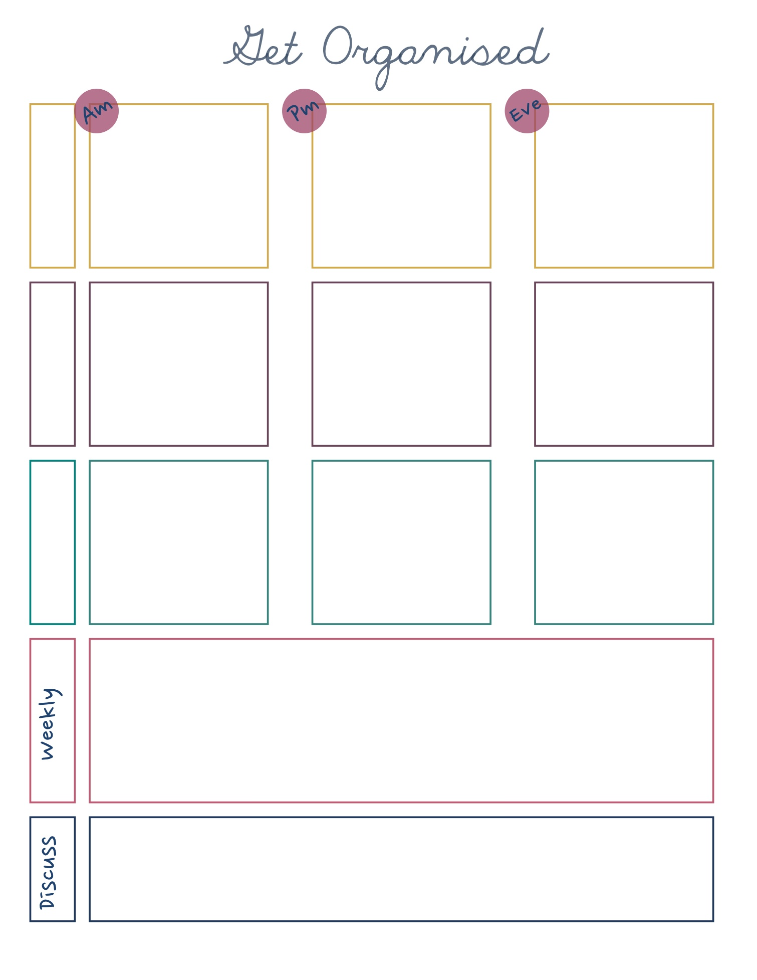 Free downloadable planner part time working week the for How to make a good planner