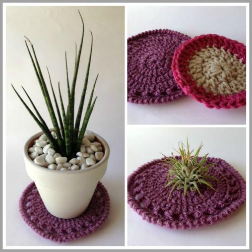 crochet mat collage