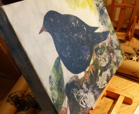 black bird on canvas