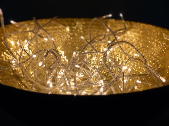 fairy lights in bowl