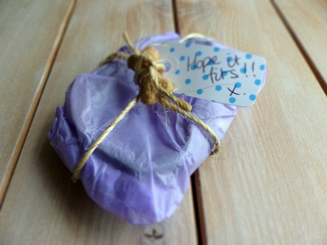 wrapped package from sweetpea and boo