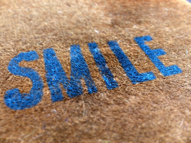 Smile painted doormat