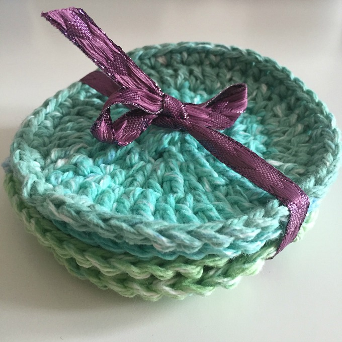 pack of four crochet coasters