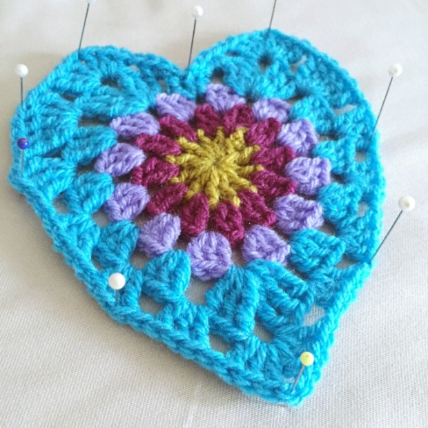 crochet heart blocking