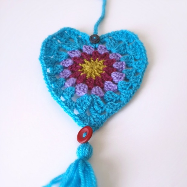 crochet heart door hanging