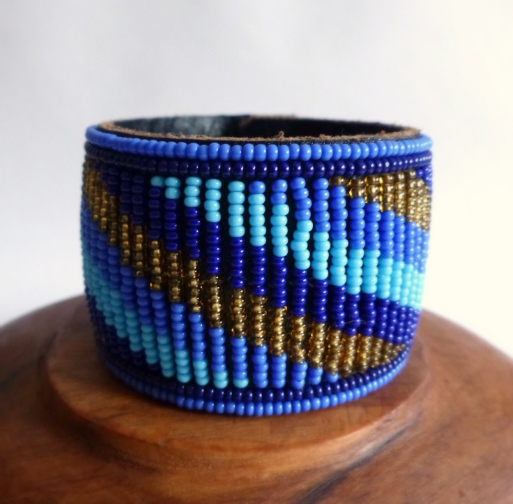 Rafiki bracelet blue and gold stripes