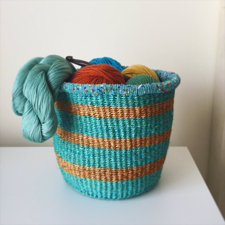 basket and yarn