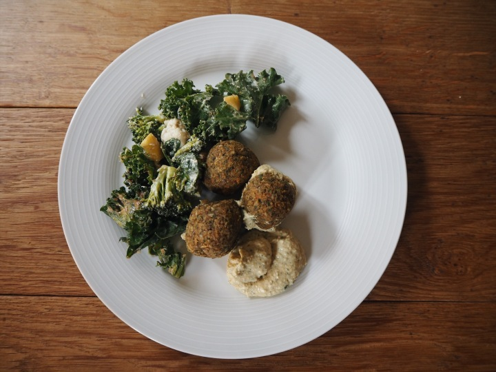 raw felafel, broccoli and cauliflower
